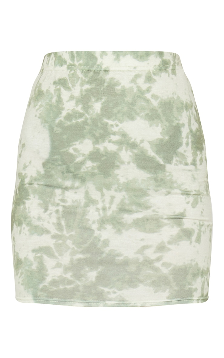 Sage Green Basic Tie Dye Mini Skirt 6