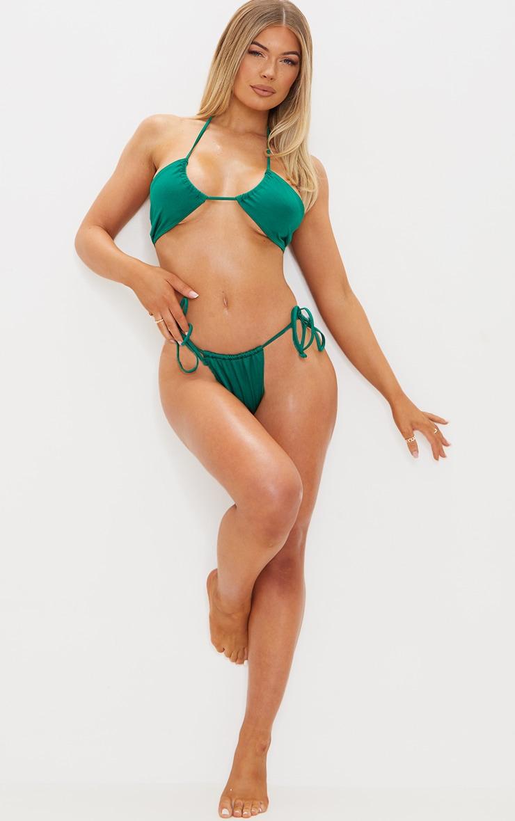 Green Tie Side Adjustable Mini Thong Bikini Bottoms 4