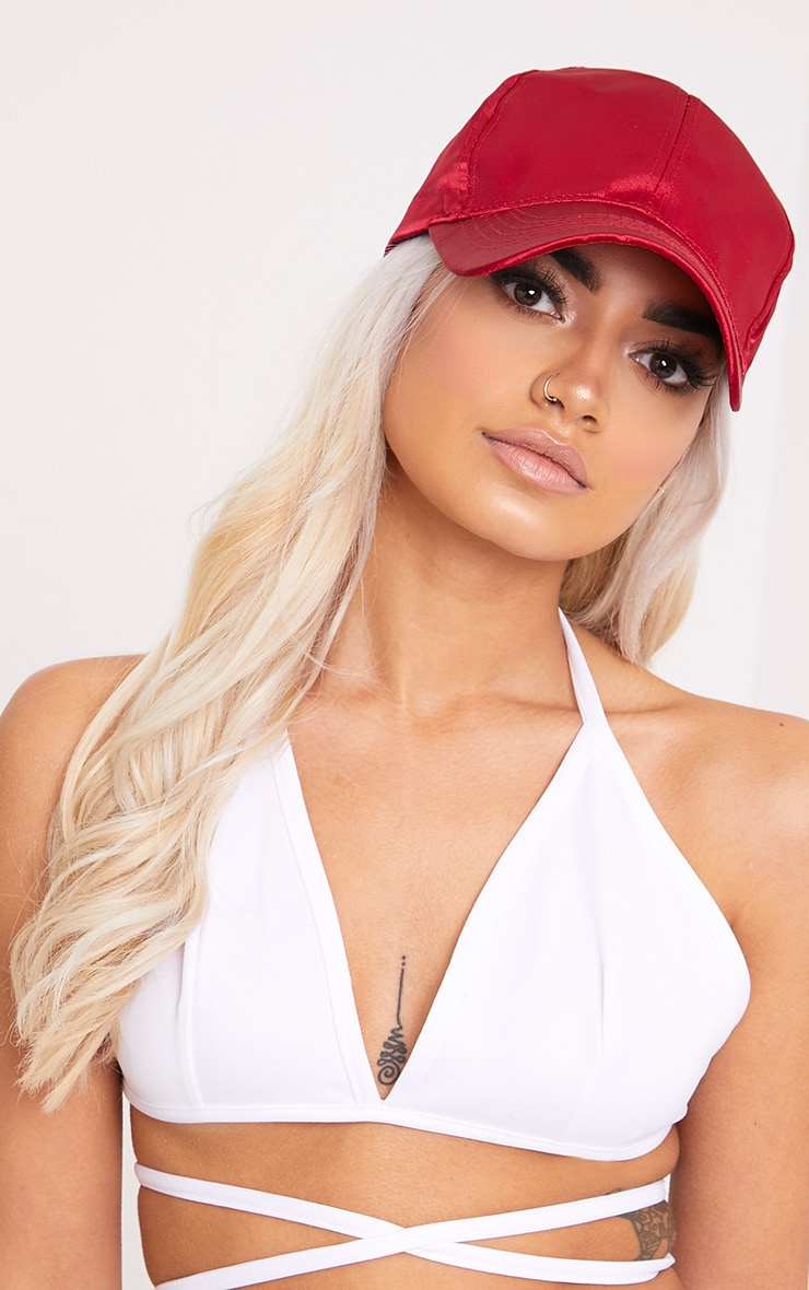 Weslyn Red Satin Baseball Cap 1