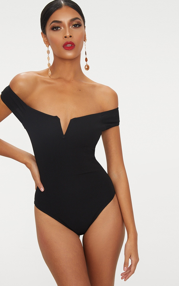 Black Bardot V Bar Crepe Thong Bodysuit 2