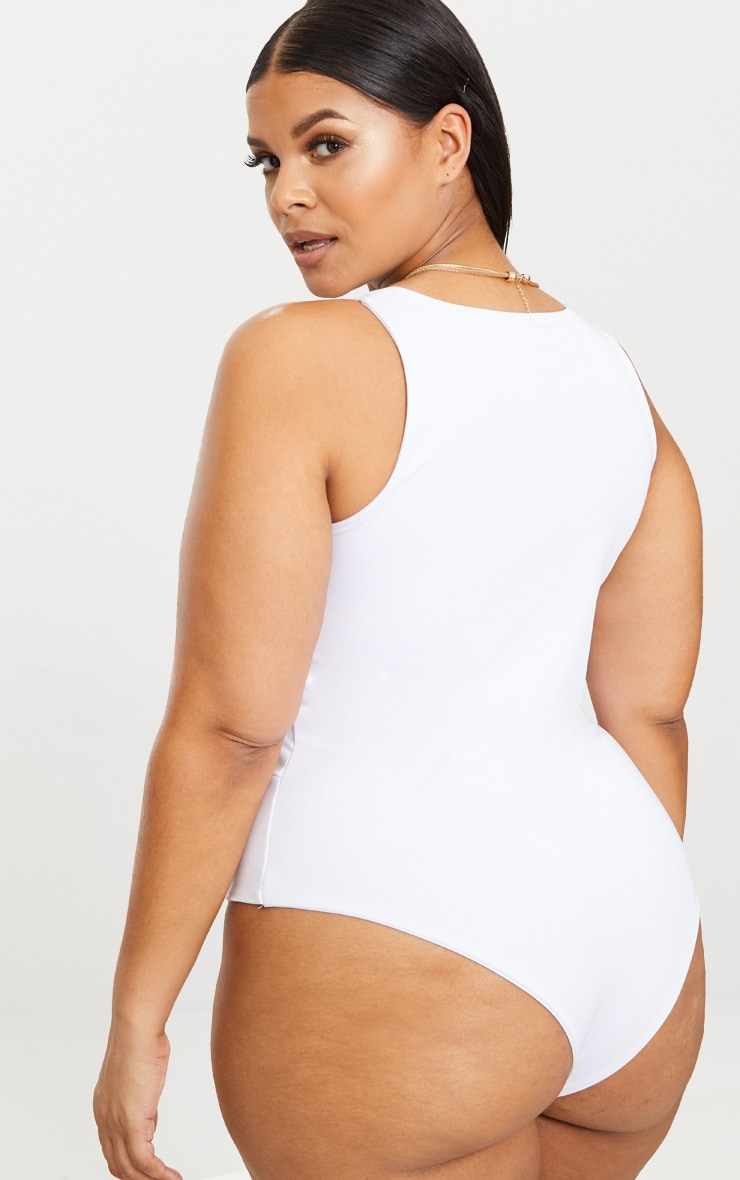 Plus White Slinky Wrap Detail Swimsuit 2