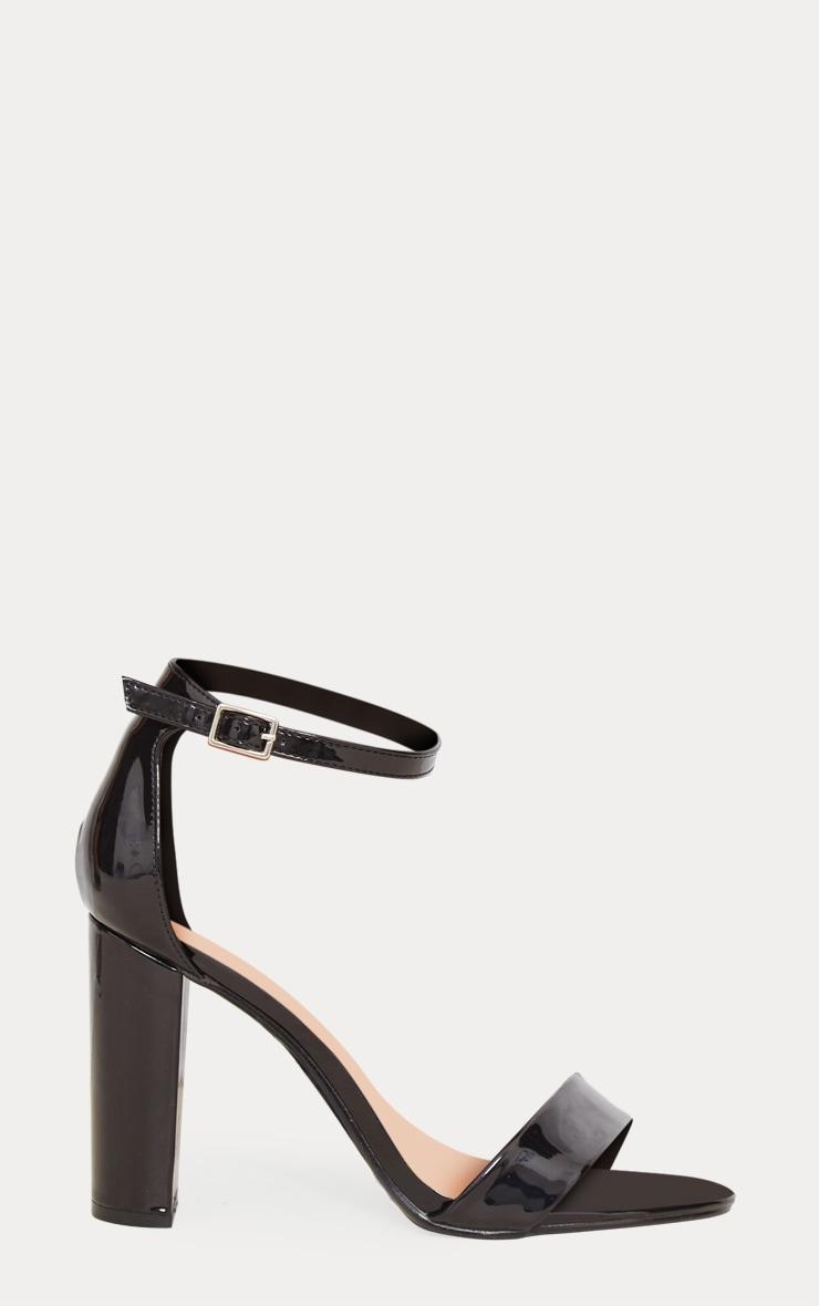 Black Patent Block Heel Strappy Sandal 3