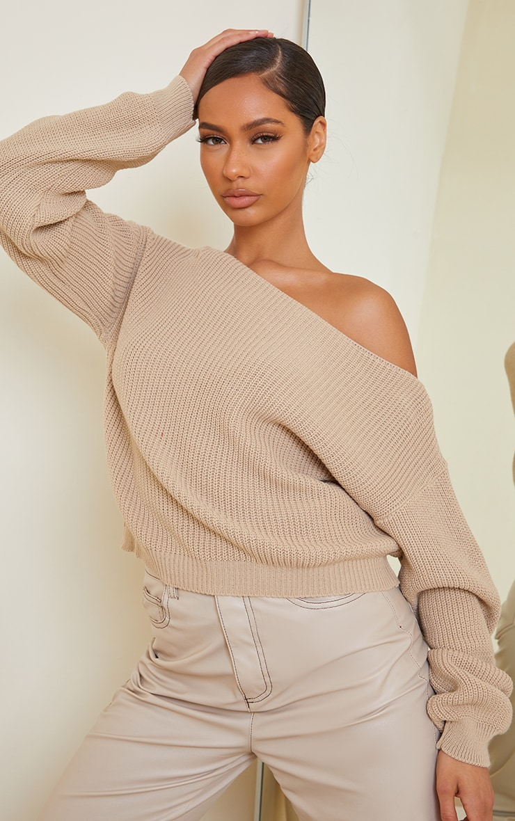 Christiana Stone Mixed Knit Slash Neck Crop Jumper 1