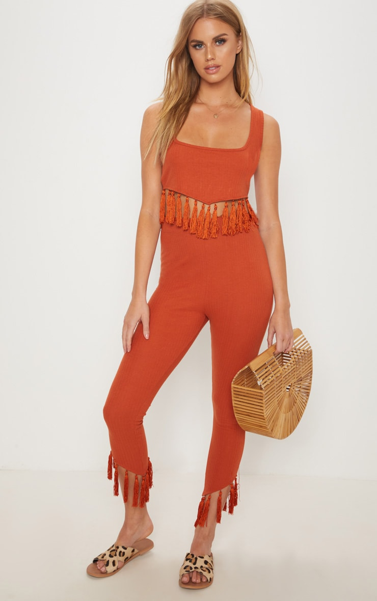 Rust Rib Tassel Trim Legging 1