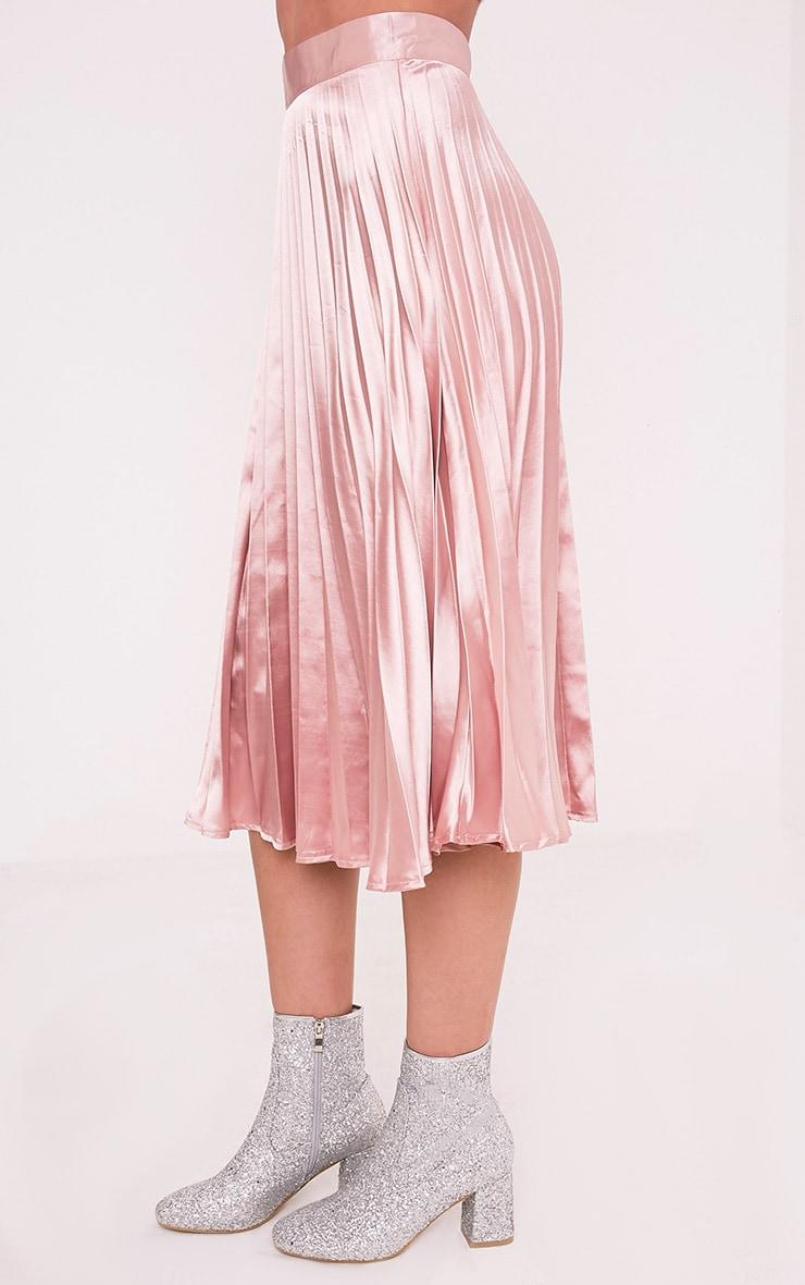 Harmonia Blush Satin Pleated Midi Skirt 4