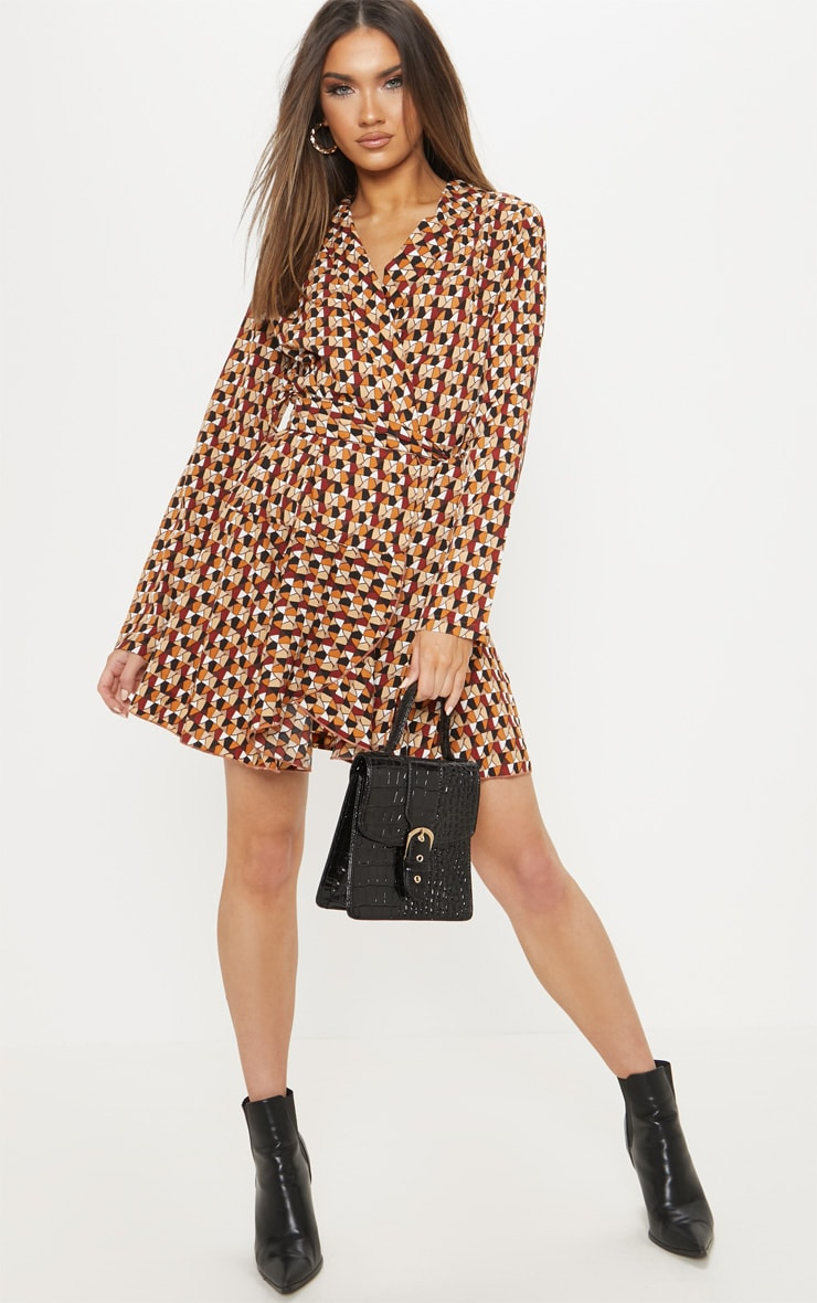 Brick Multi Geometric Print Wrap Skater Dress 4