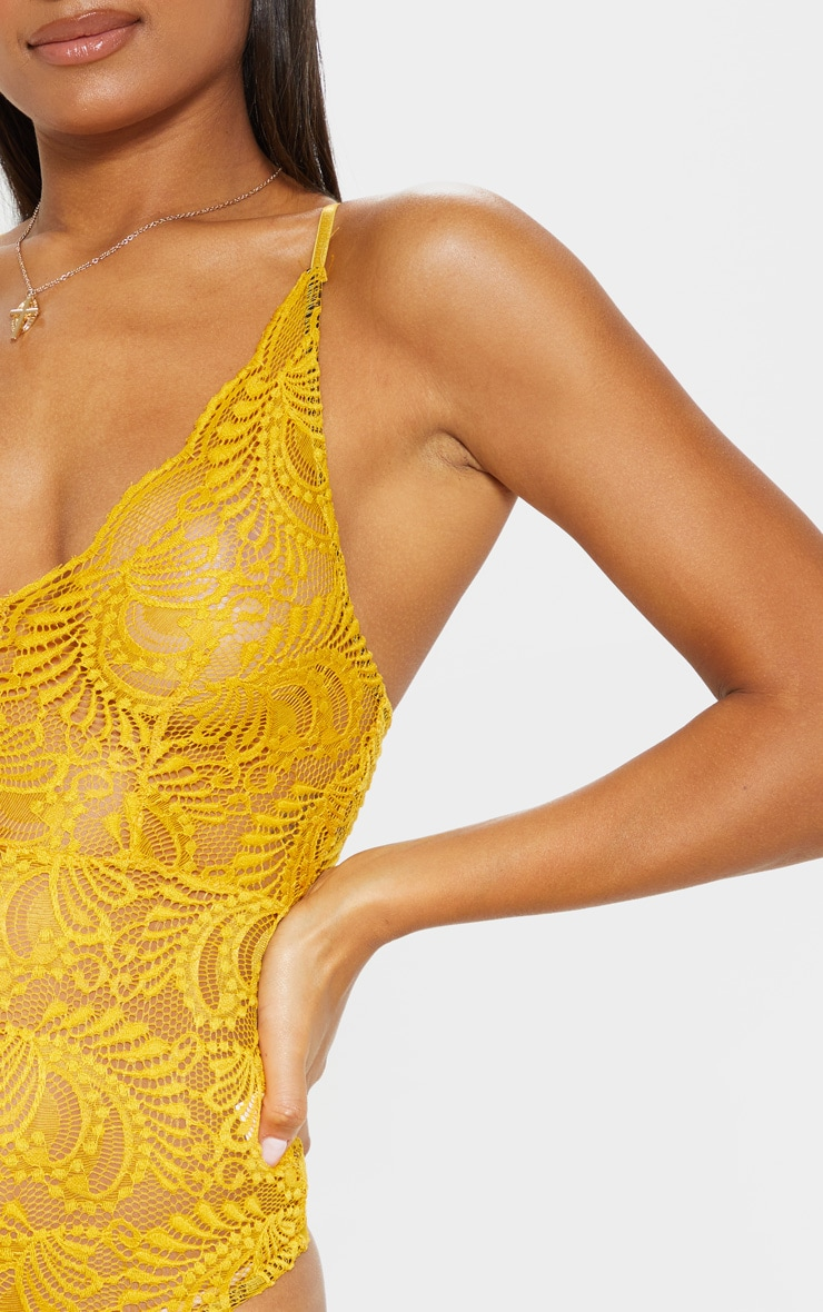 Mustard Sheer Lace Cross Back Bodysuit  6