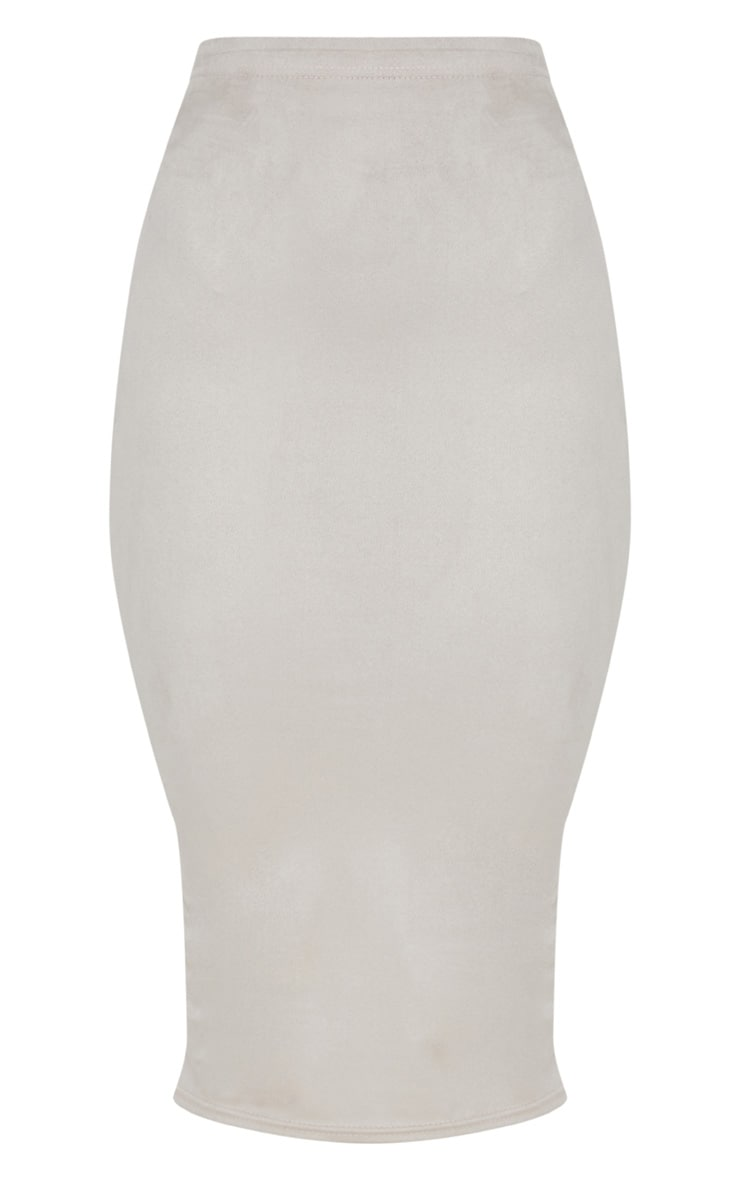 Grey Faux Suede Midi Skirt  3