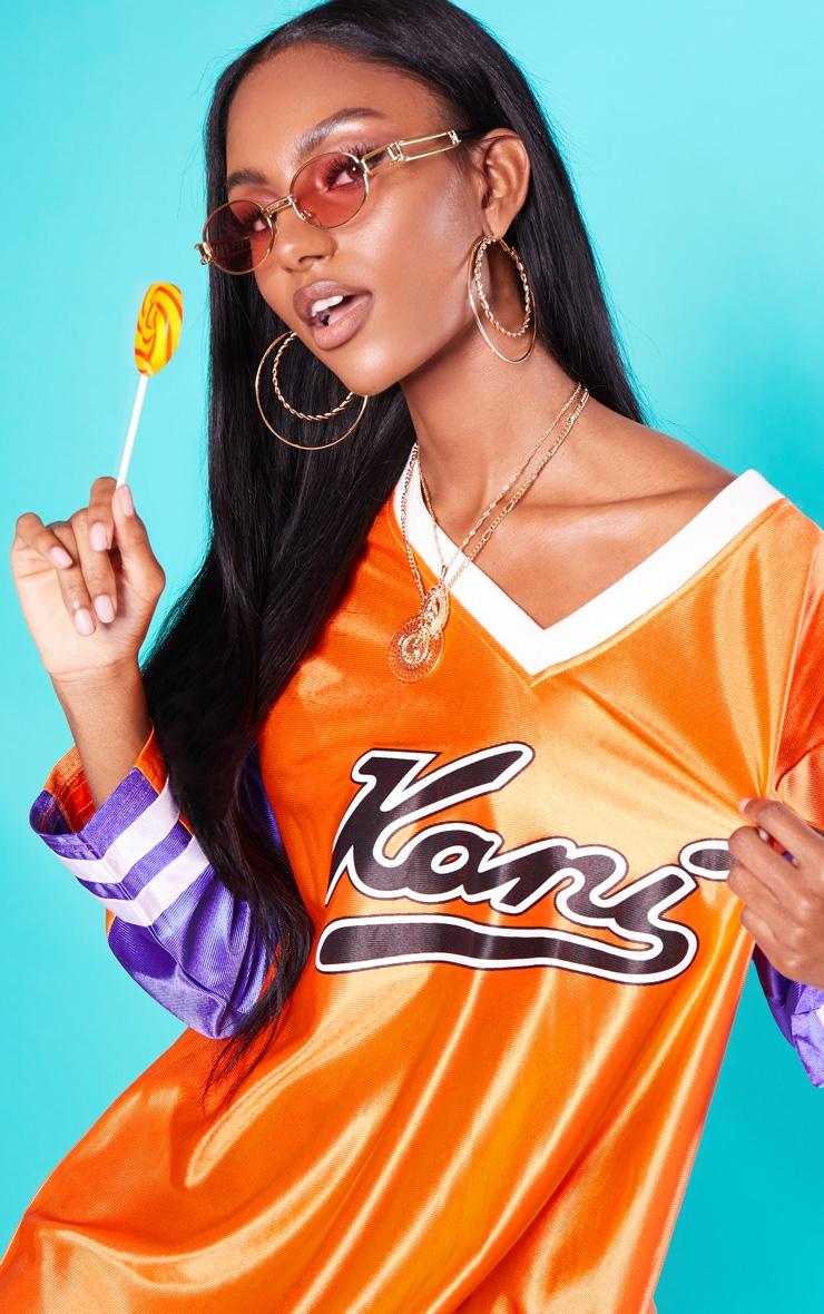 KARL KANI Orange Baseball Dress 6