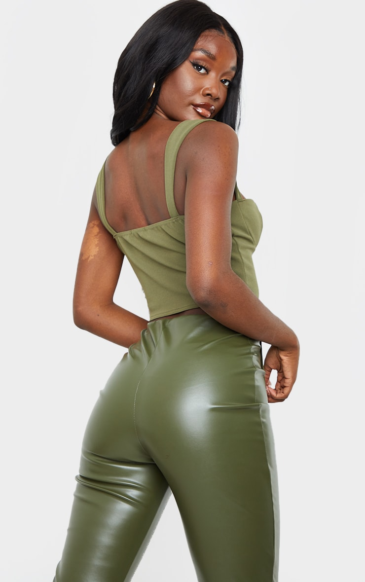 Tall Khaki Corset Ring Detail Crop Top 2