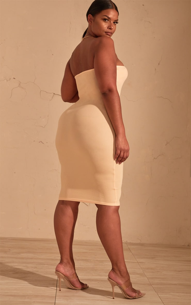 Plus Cream Bandeau Midi Dress 2