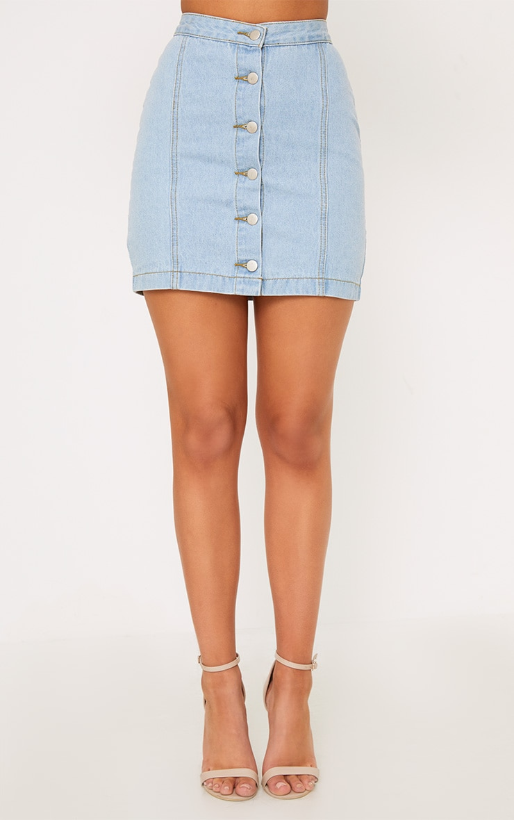 Kaela Light Wash Denim Button Down Skirt 4