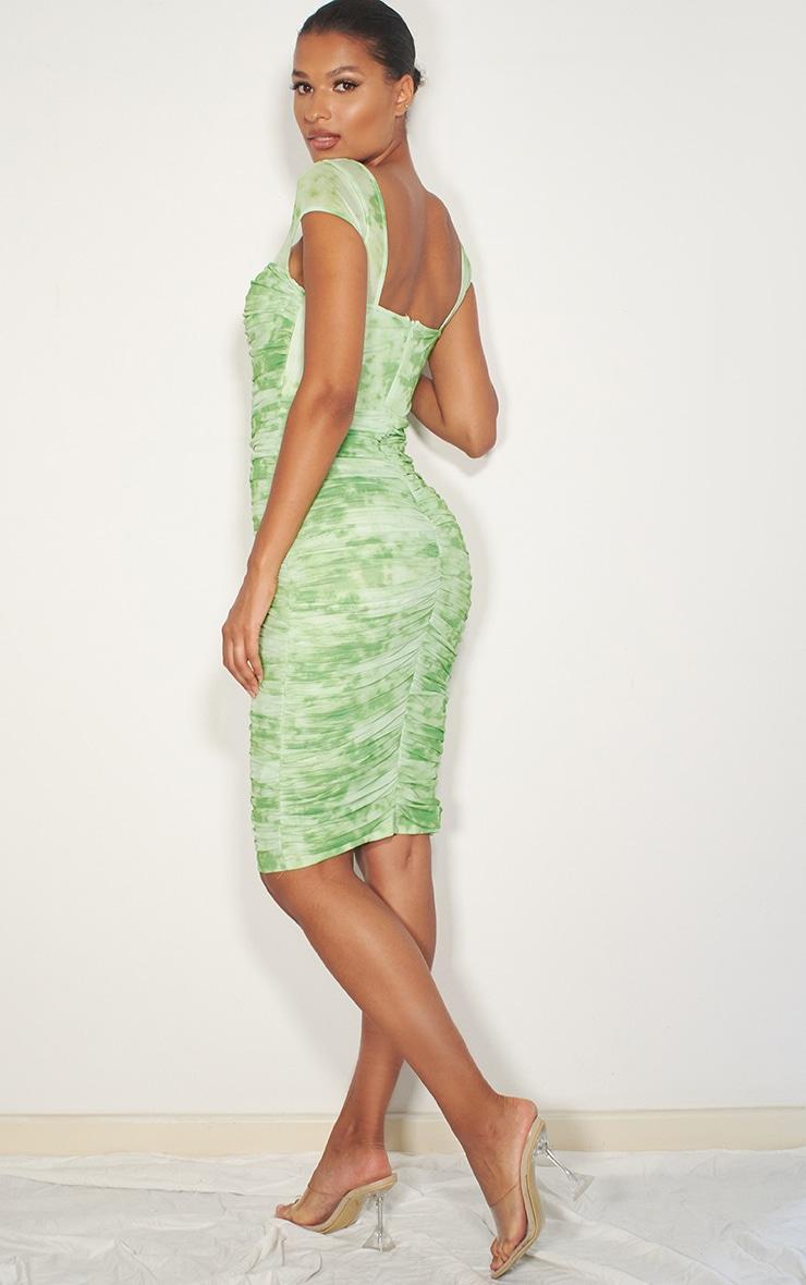Lime Green Tie Dye Printed Mesh Ruched Midi Dress 2