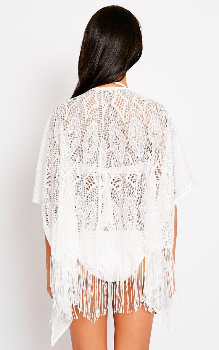 Ria White Lace Fringe Kimono 2