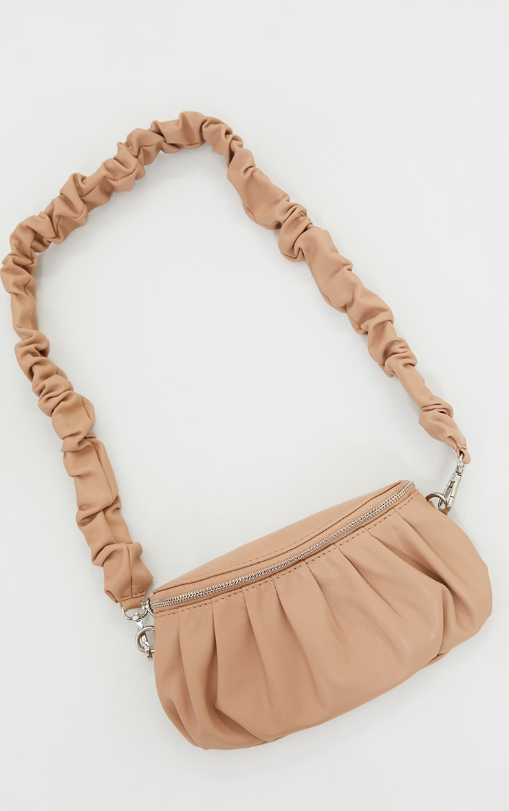 Beige Ruched Strap Cross Body Bag 2