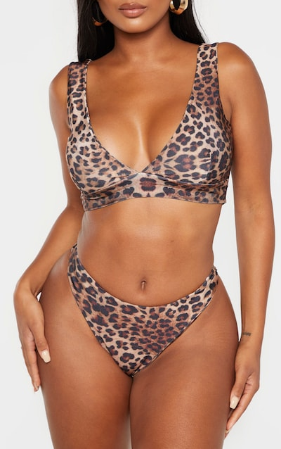Shape Brown Leopard Print Brazilian Thong Bikini Bottom