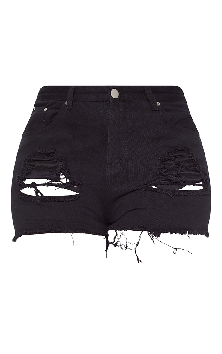 Plus Black Ripped Frayed Hem Denim Shorts 3