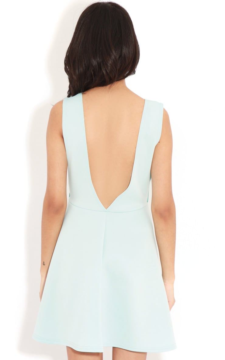 Arianna Baby Blue Scuba Side Slit Skater Dress 2
