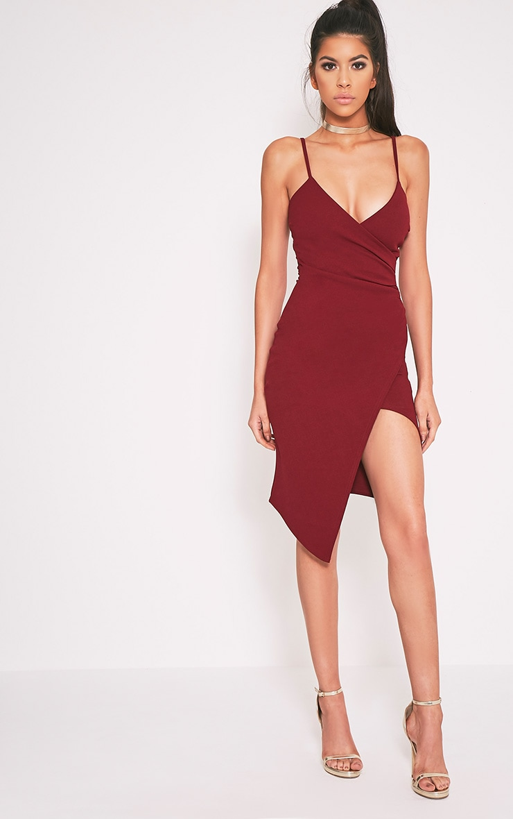 Lauriell Burgundy Wrap Front Crepe Midi Dress 1