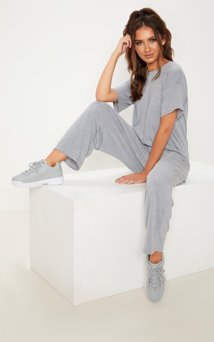 Grey Marl Oversized T Shirt Culotte Jumpsuit 4