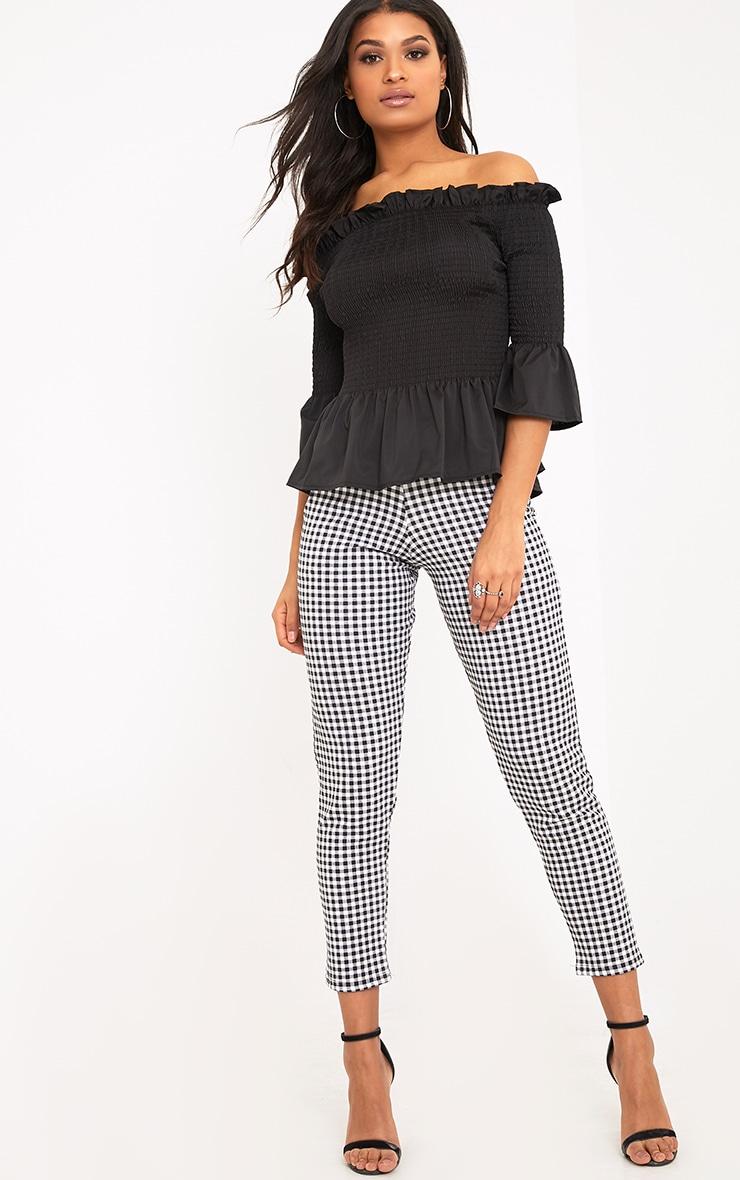 Pami Black Ruched Bardot Cotton Shirt 4