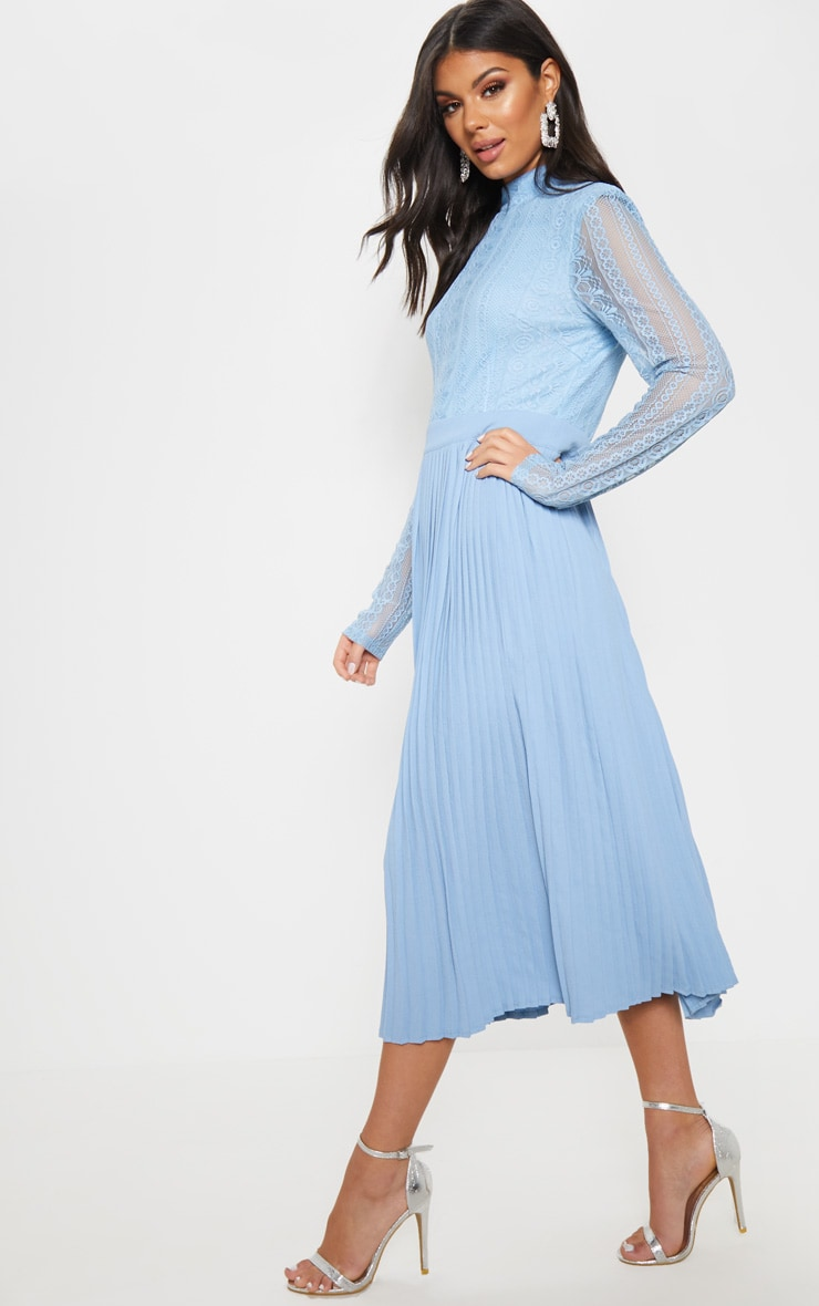 Dusty Blue Lace Top Pleated Midi Dress 4