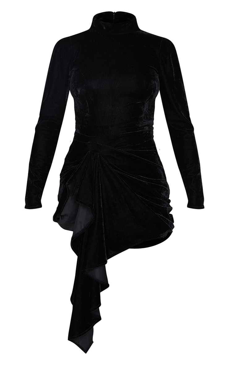 Black Velvet High Neck Drape Detail Bodycon Dress 5