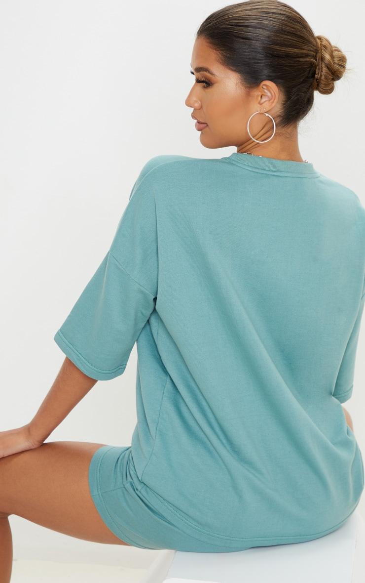 T-shirt sweat oversize turquoise cendré 2