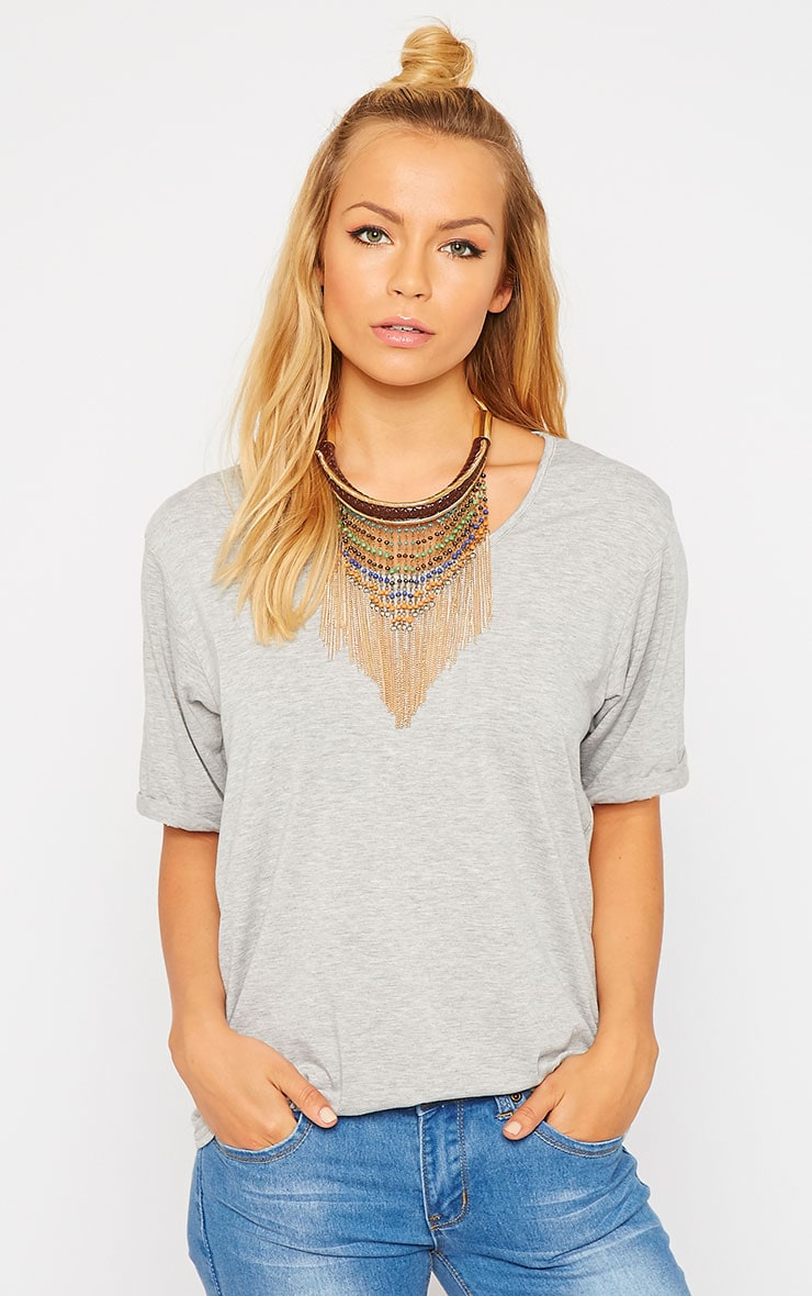 Basic Grey V-Neck Roll Sleeve T-Shirt 4