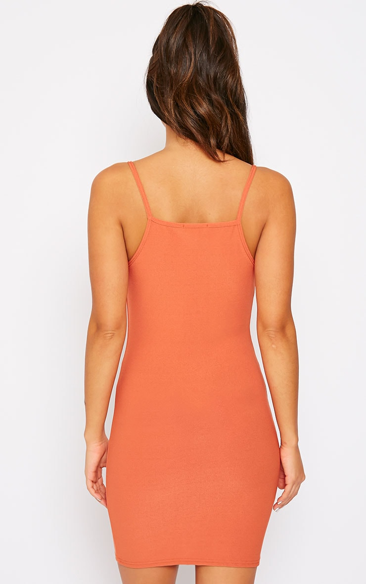 Juli Rust Crepe Racer Neck Mini Dress 2