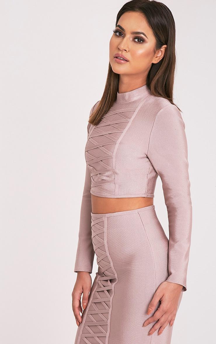 Kailyn Premium top court à manches longues élastique couleur vison 4