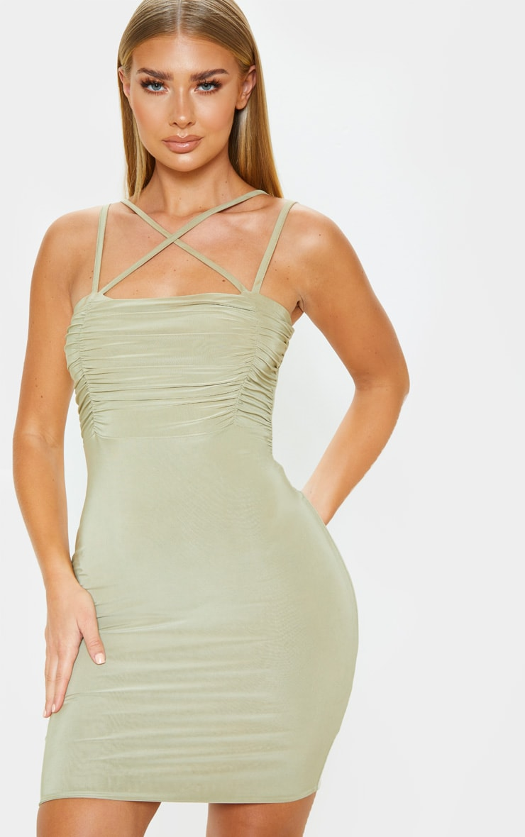Sage Green Slinky Ruched Bust Strappy Bodycon Dress 1