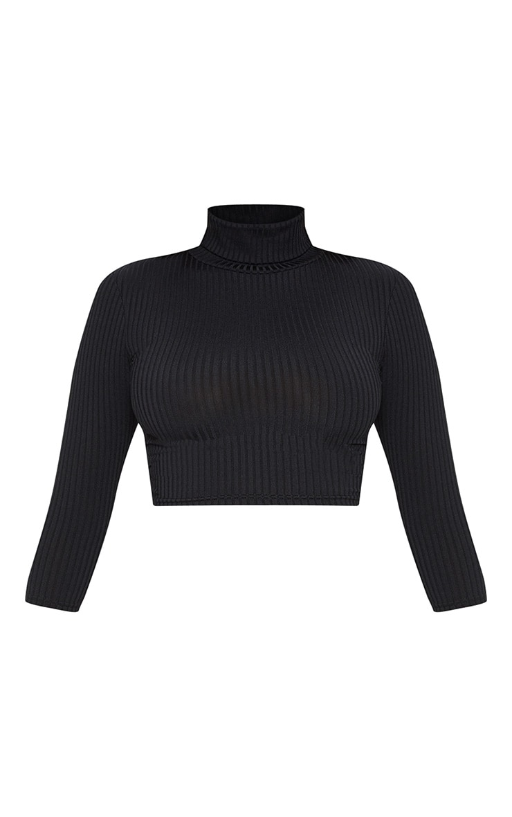 Black Long Sleeve Rib Roll Neck Crop Top 3