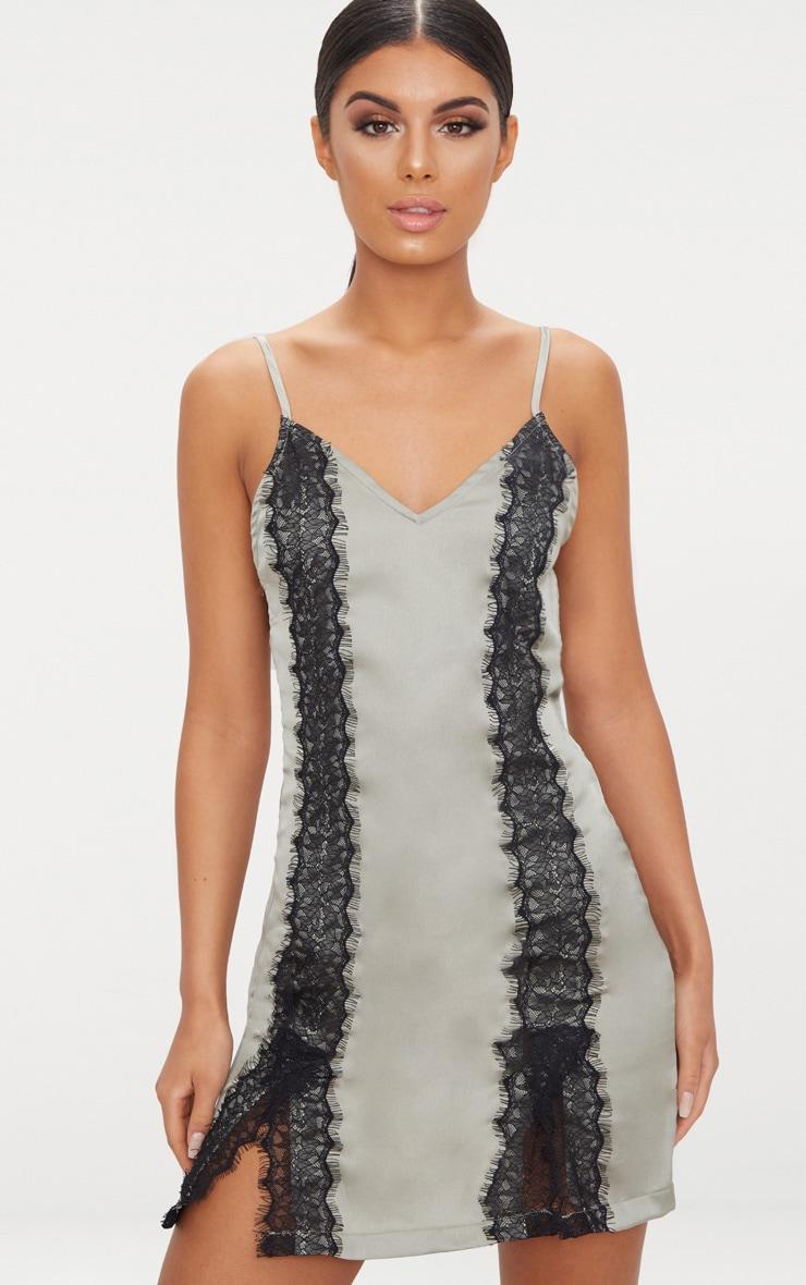 Sage Green Strappy Split Detail Lace Trim Slip Dress  1
