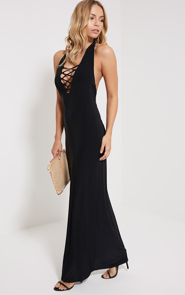 Emiliano Black Lace Front Maxi Dress 3