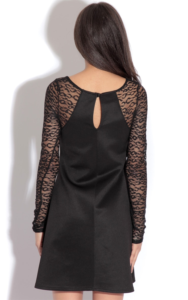 Amina Black Leopard Sleeve Dress 2