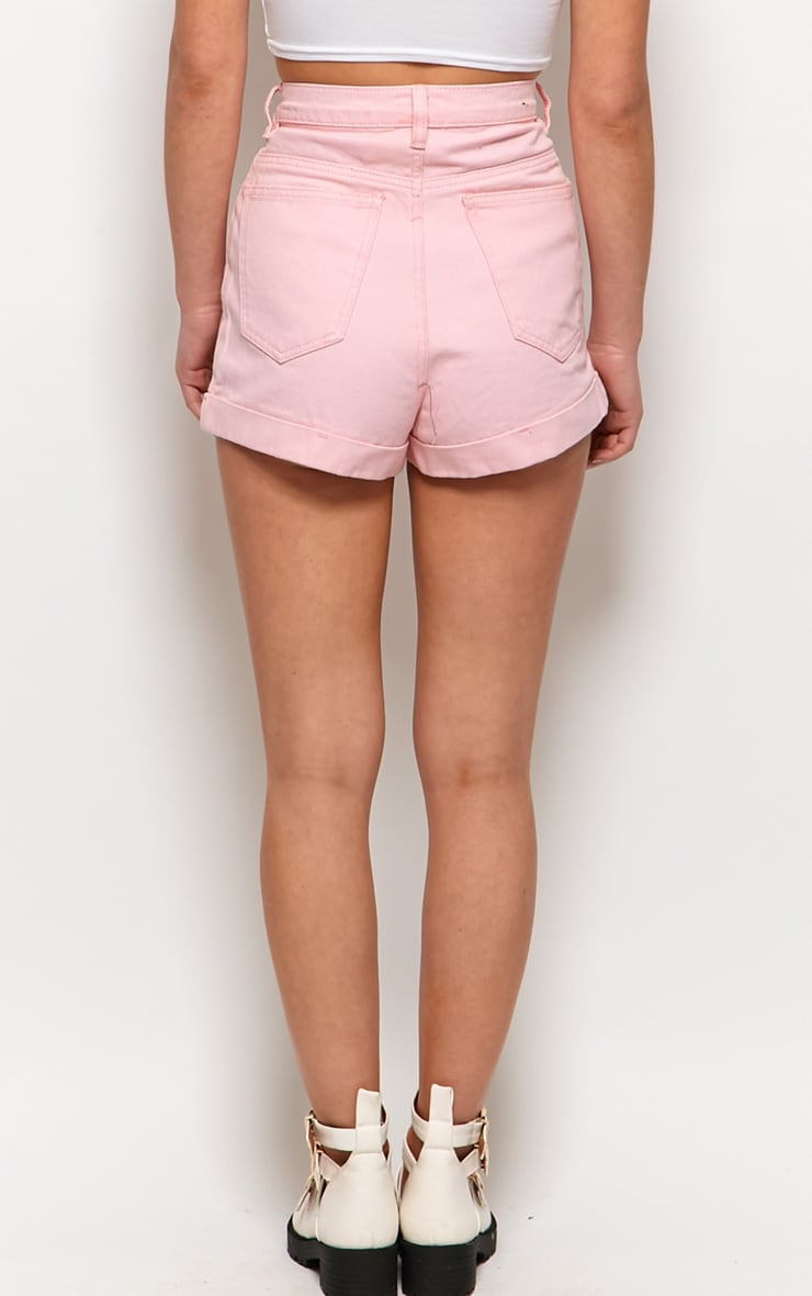 Tansy Pink Denim High Waist Shorts 2