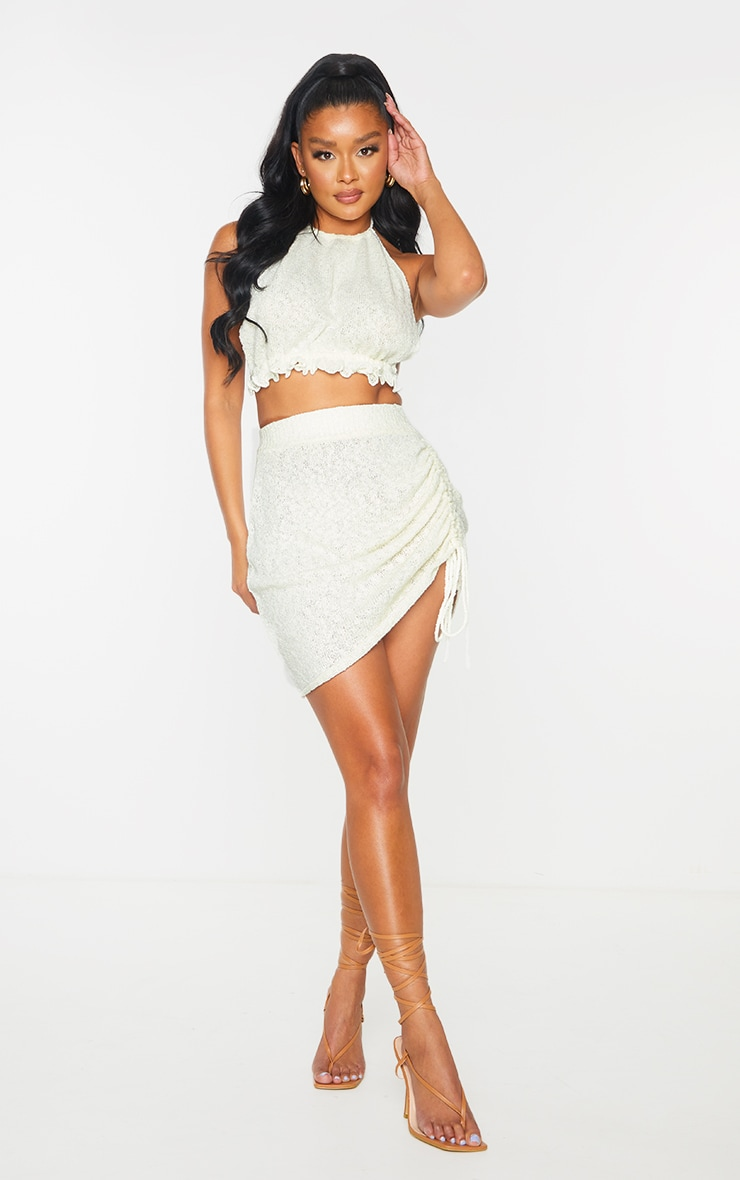 White Ruched Tie Front Knit Mini Skirt 1