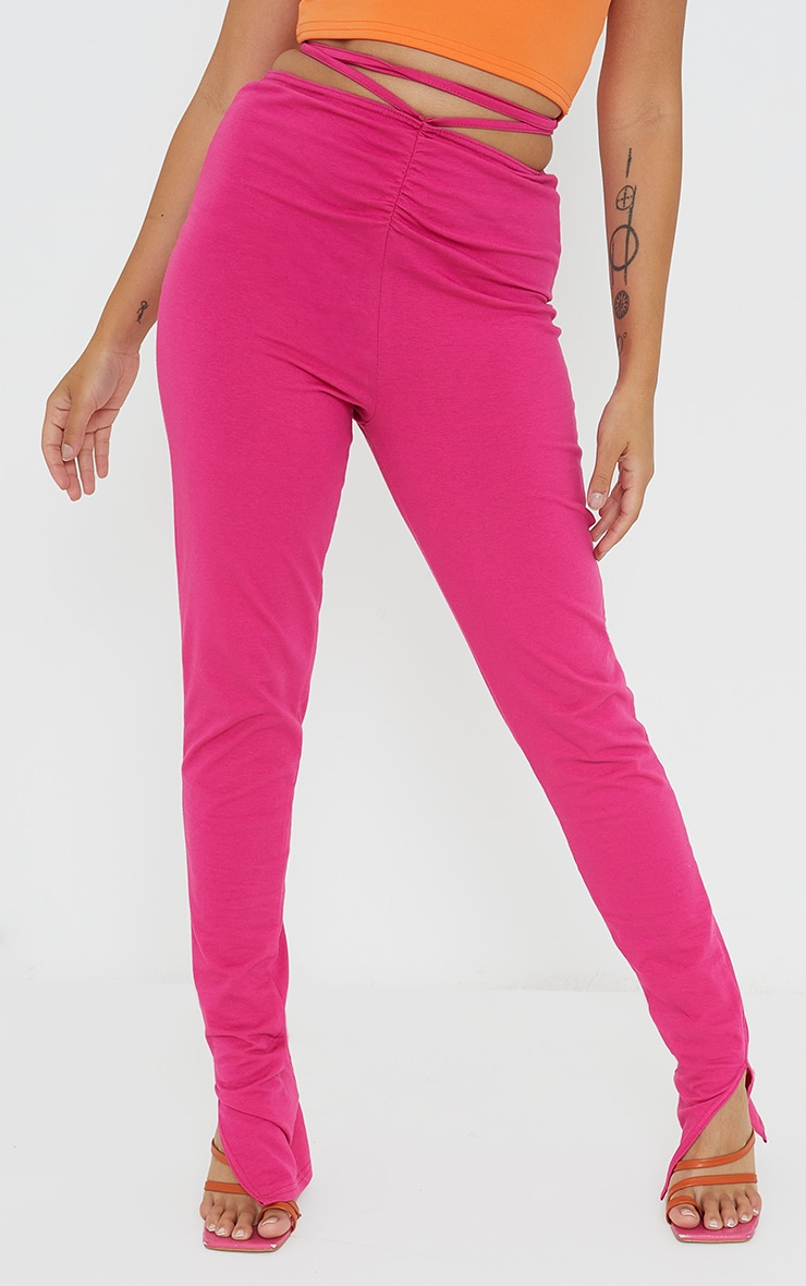 Petite Pink Ruched Waist Wrap Around Split Hem Leggings 2