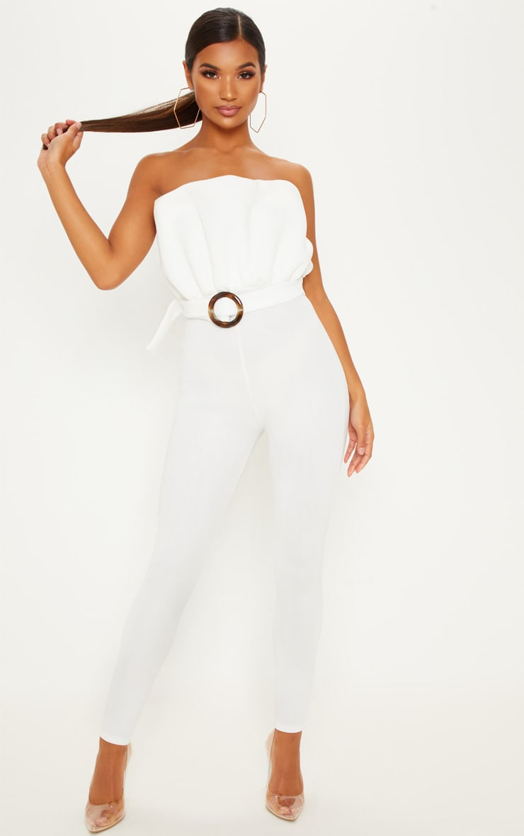 White Bonded Scuba Ruffle Top Tortoise Shell Buckle Jumpsuit 1