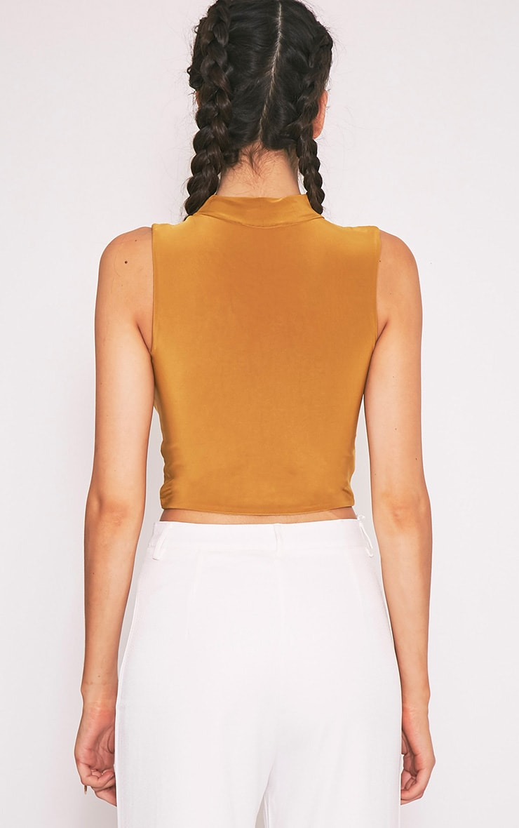 Melrose Dark Gold Cut Out Neck Slinky Crop Top 2