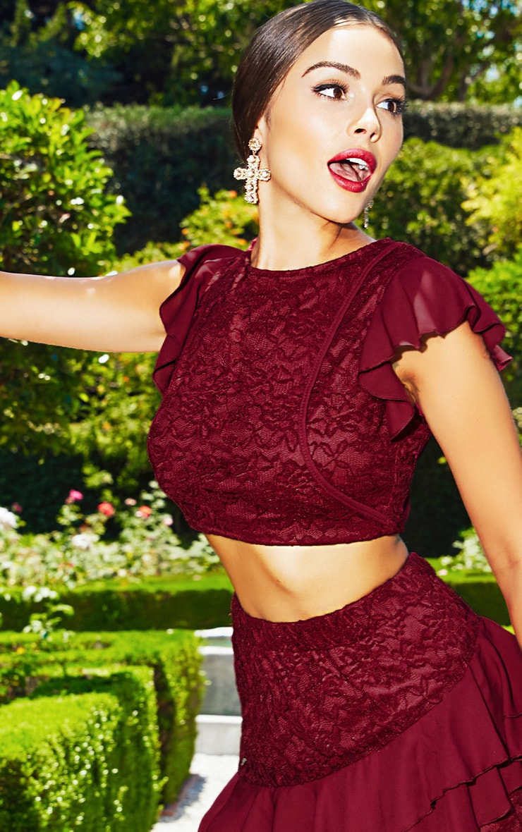 Burgundy Lace Frill Sleeve Detail Crop Top 1