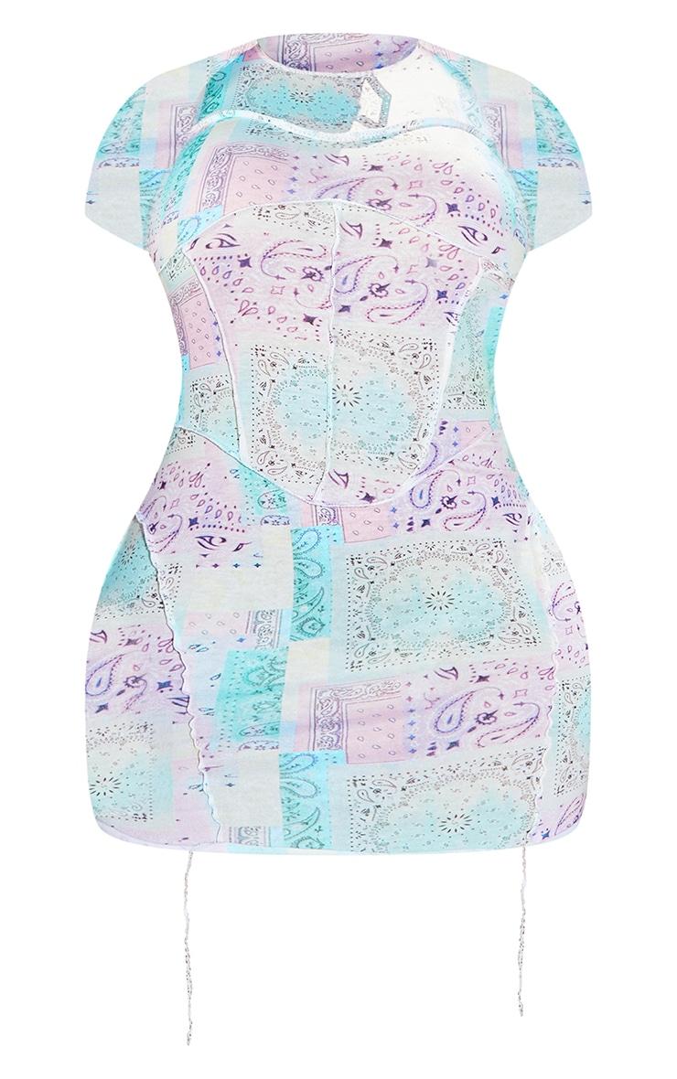Shape Lilac Paisley Print Contrast Seam Corset Detail Bodycon Dress 5