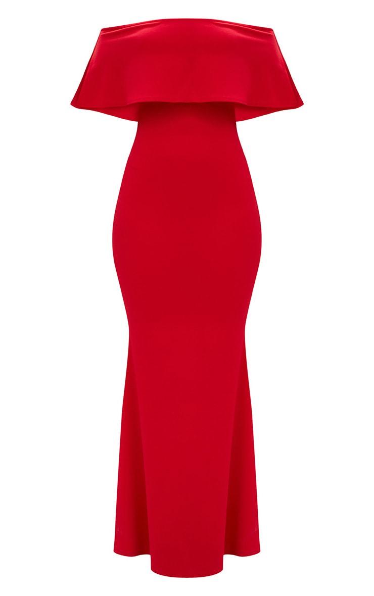 Red Bardot Frill Fishtail Maxi Dress 3