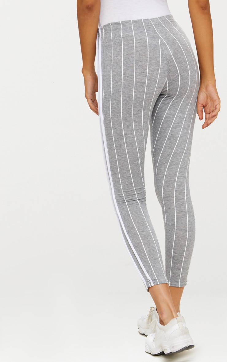 Grey Pinstripe High Waisted Side Stripe Legging  3
