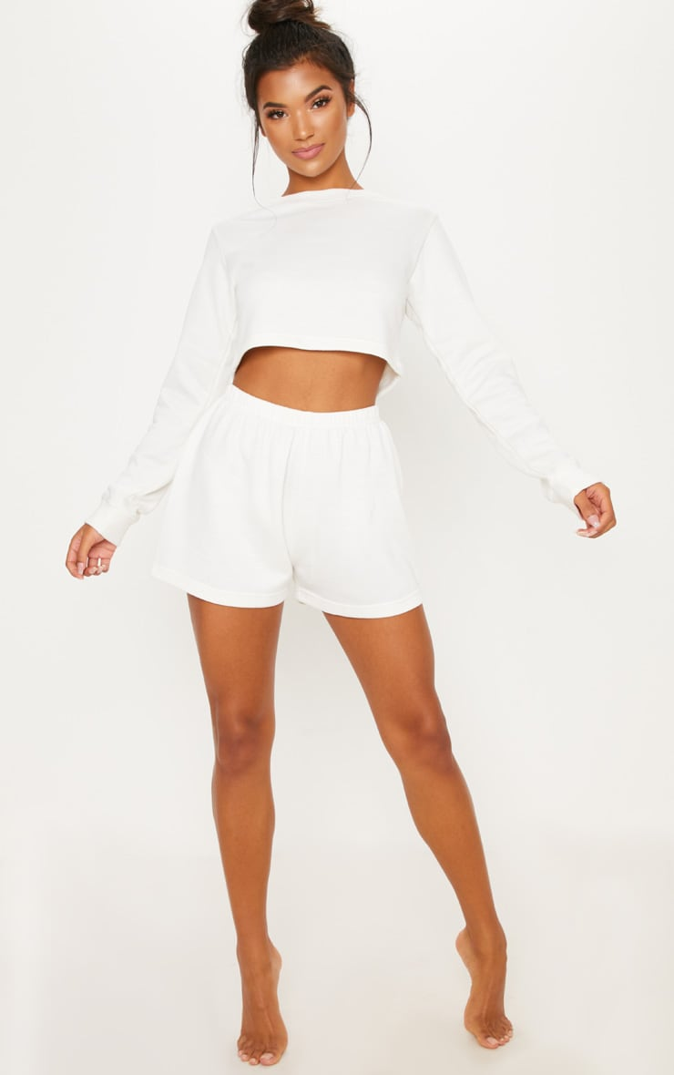 Cream Cropped Sweat PJ Set 4