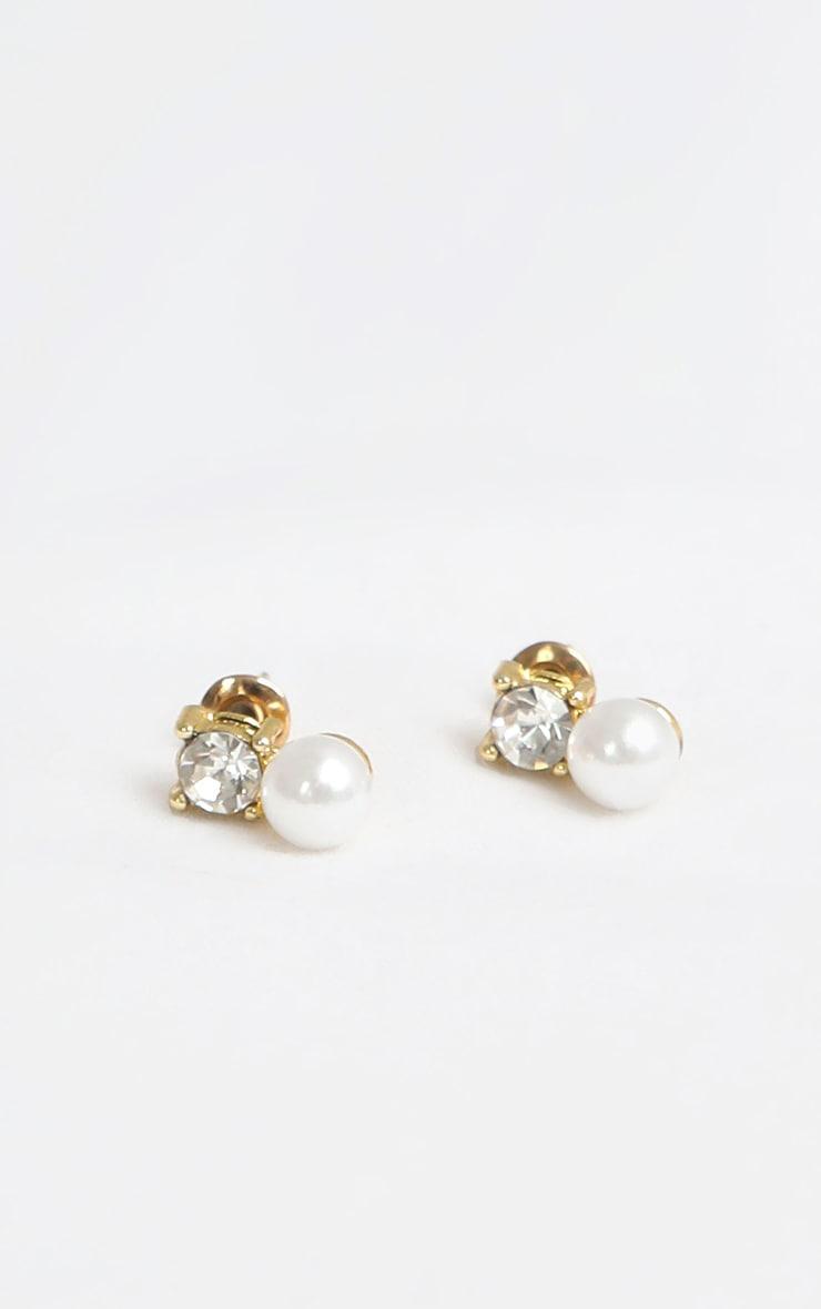 White Pearl Diamante Stud Earrings 1