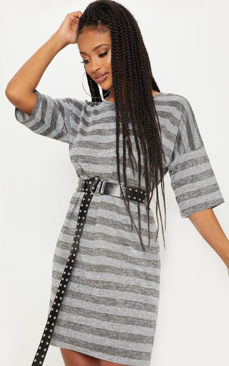 2759fdb0cc Silver Textured Glitter Oversized T Shirt Dress image 1