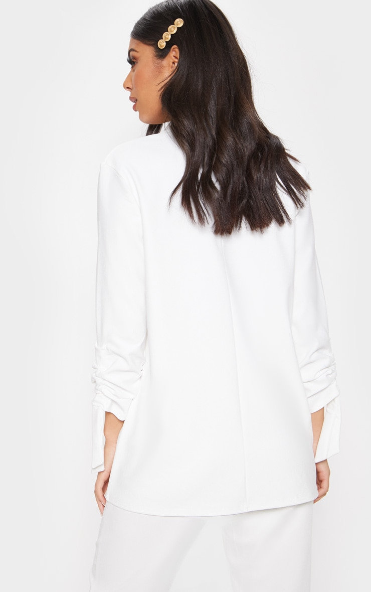White Ruched Sleeve Blazer 2