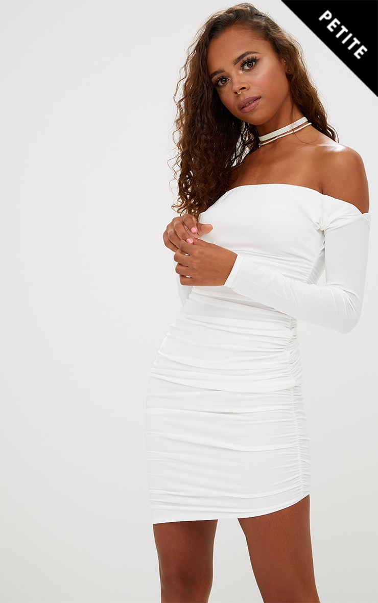 Petite White Slinky Asymmetric Bardot Dress 1